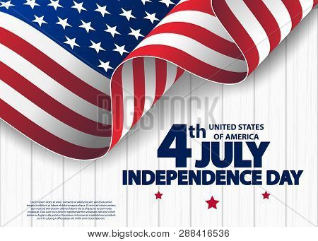 Happy 4th Of July Usa Independence Day Greeting Card With Waving American National Flag. Fourth Of J