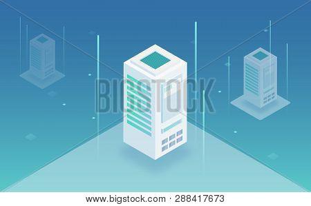 Big Data Processing, Web Hosting, Server Rack, Data Storage, Omputing And Processing Information Con