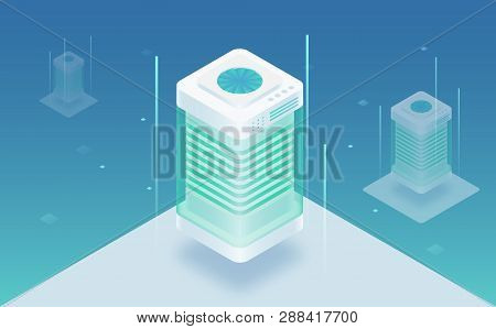 Big Data Processing, Web Hosting, Server Rack, Data Storage, Omputing And Processing Information Con