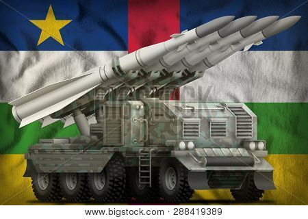 Tactical Short Range Ballistic Missile With Arctic Camouflage On The Central African Republic Flag B