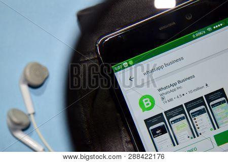 Bekasi, West Java, Indonesia. March 12, 2019 : Whatsapp Business Dev Application On Smartphone Scree