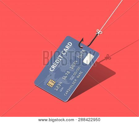 Credit Card On Fishing Hook Over Scarlet Background. Scam And Phishing Concept. Vector Isometric Ill