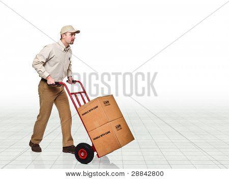 delivery man wirh hand truck