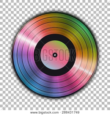 Gramophone Iridescent Vinyl Lp Record Template Isolated On Checkered Background. Vector Illustration