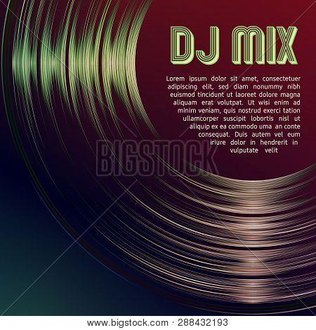 Dj Mix Vinyl Cover With Vinyl Grooves