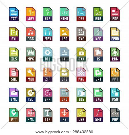 File Formats Vector Icon Set In Flat Style