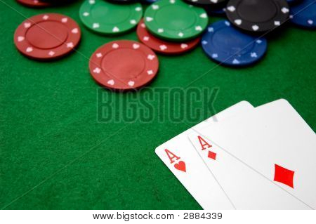 Poker Chips And A Pair Of Aces