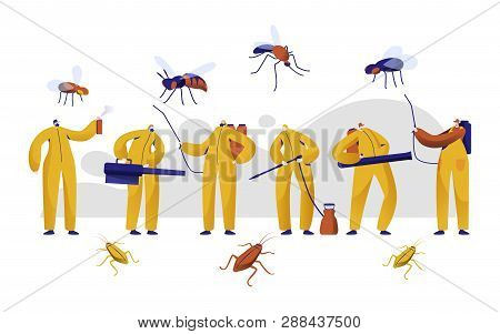 Mosquito Pest Control Professional Character Set. Man In Uniform Fight With Insect With Chemical Ins