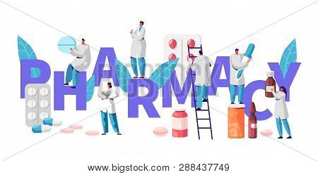 Pharmacy Business Drug Store Industry Character Typography Poster. Pharmacist Cure Patient. Professi