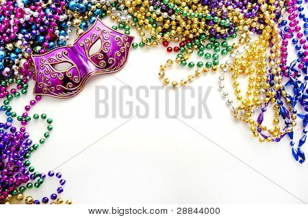 mardi gras mask and beads for party poster
