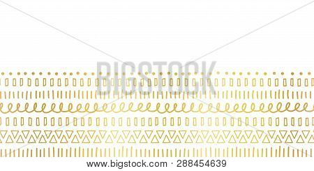 Seamless Border Gold Foil Ethnic And Tribal Motifs. Hand Drawn Golden Doodle Strokes, Lines, Triangl