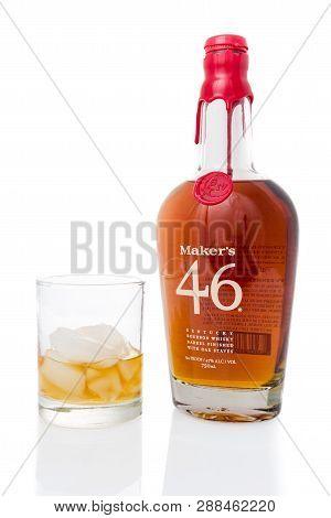 Winneconne, Wi - 3 March 2019: A Bottle Of Makers Mark 46 Kentucky Bourbon Whisky Barrel Finished Wi