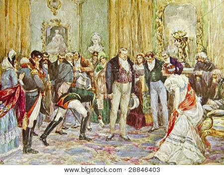 Pierre Bezukhov at Noble Assembly - illustration by artist A.P. Apsit from book