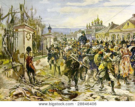 Russian army and captured the French soldiers - illustration by artist A.P. Apsit from book