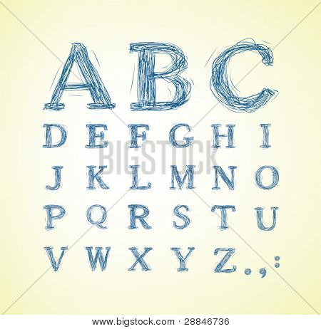 Hand drawn alphabet set - vector illustration poster