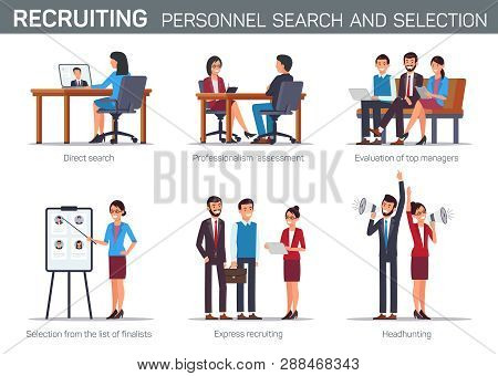 Flat Set Recruiting Personnel Search And Selection. Direct Search Professionalism And Assessment Evo