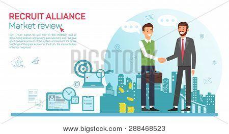 Flat Banner Recruit Alliance Job Market Review. Vector Illustration On White Background. Man In Busi