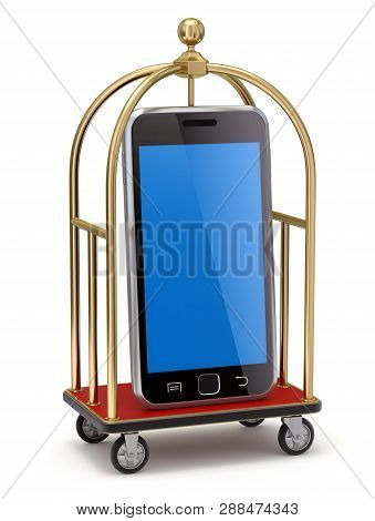 Vintage Hotel Cart With Mobile Phone - 3d Illustration