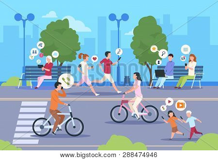 Flat Internet Urban Street. City Wifi People Walking In Park Town Landscape Girl And Boy Lifestyle.