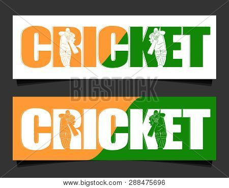 Batswoman Playing Cricket. Abstract Poster For India Womens Cricket. Vector Illustration Of Female C
