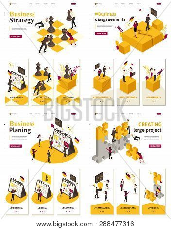 Set Template Landing Page, App Isometric Concept Business Strategy, Planning, Disagreements, Creatin