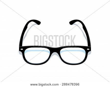Black Glasses. Eyeglasses Frame Silhouette, Black Elegant Retro Spectacles With Transparent Glass. V