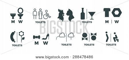 Toilet Signs. He She Wc Door Symbols, Man And Woman Bathroom Direction Signs. Vector Funny Icons Of