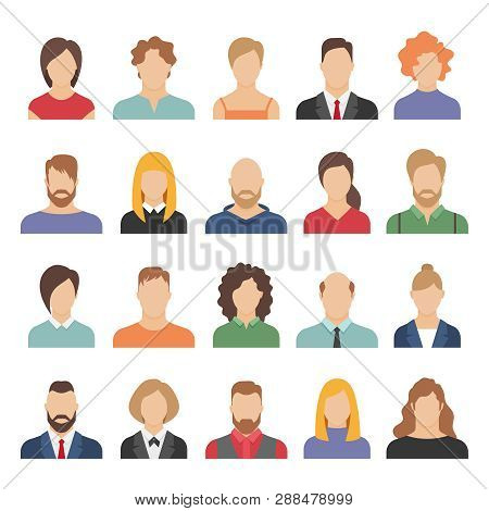 People Business Avatars. Team Avatars Working Office Professional Young Female Male Cartoon Face Por