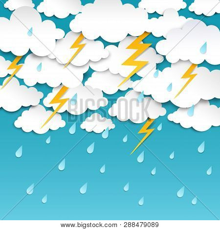 Paper Cut Rainy Sky. Storm Background, Rain Season Weather Poster, Origami Forecast Banner. Vector O