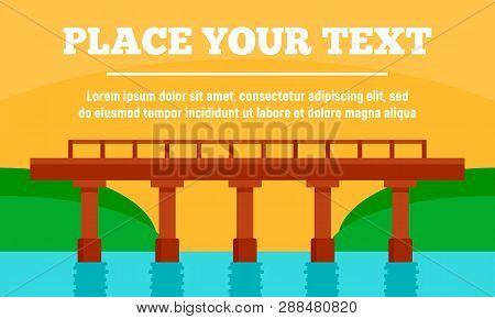 Beton Bridge Concept Banner. Flat Illustration Of Beton Bridge Concept Banner For Web Design