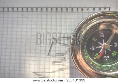 Compass on forex charts background. Navigation device for targeting traders in the world of forex market. poster