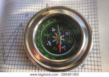 Compass on forex charts background. Navigation device for targeting traders in the world of forex. poster