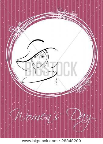 Vector illustration of a beautiful girl wearing hat and copy space, greeting card in pink color for International Women's Day.