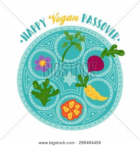 Passover Holiday Cute Vegan Seder Plate. Childish Print For Cards, Invitations And Stickers.