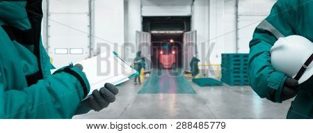 Staff Worker With Clipboard Checking Goods And Safety Officer For Dangerous In Cold Room Storage And