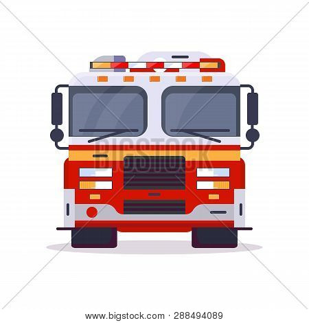Front View Of Fire Engine Car With Lights. Flat Style Vector Illustration. Vehicle And Transport Ban