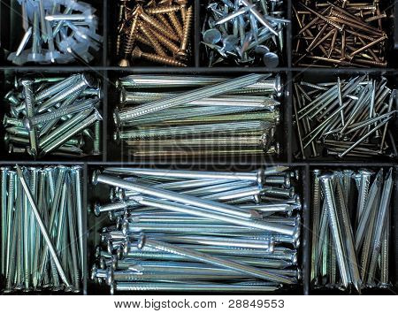 Set of nails, tool box