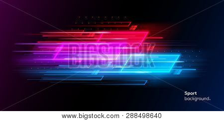 Modern Abstract Sport Background. Trendy Geometric Neon Collage For Speed Movement. Night Race Adver