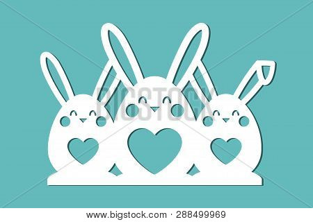 Three Rabbits. Easter Template . Vector Image For Cutting Paper, Laser Cutting And Plotter.