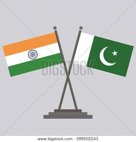 Flag Of India With Flag Of Pakistan.flag Of India With Flag Of Pakistan Drawing By Illustration