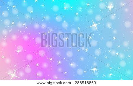 Unicorn Rainbow Background. Holographic Sky In Pastel Color. Bright Mermaid Pattern In Princess Colo