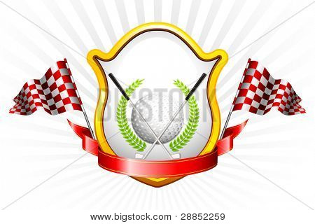 illustration of golf ball and golf stick  with golden trophy