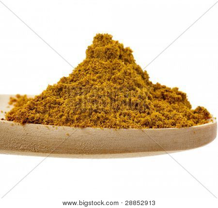 curry powder spices on spoons isolated on a white background