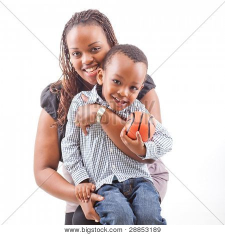 Young afro american mother with her son isolated over a white background.