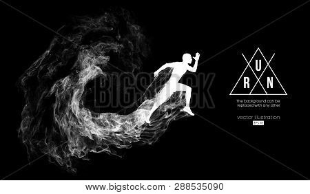 Abstract Silhouette Of A Running Athlete Man On The Dark, Black Background From Particles, Dust, Smo
