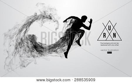Abstract Silhouette Of A Running Athlete Man On The White Background From Particles, Dust, Smoke. At