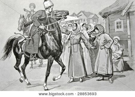 Cossacks on horseback. Illustration by artist Zahar Pichugin from book