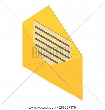 Open Post Envelope Icon. Isometric Illustration Of Open Post Envelope Icon For Web