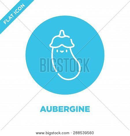 Aubergine Icon Vector. Thin Line Aubergine Outline Icon Vector Illustration.aubergine Symbol For Use