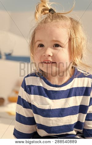 Cruising With Kids. Child Smiling Face Striped Shirt Looks Like Sailor. Kid Boy Toddler Travelling S